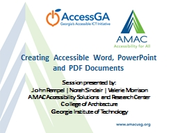 Creating Accessible Word, PowerPoint and PDF Documents