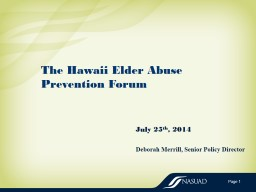 The Hawaii Elder  Abuse Prevention
