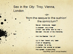 Sex in the City:  Troy, Vienna,