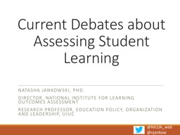 Current Debates about Assessing Student Learning
