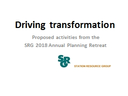 Driving transformation Proposed activities from the