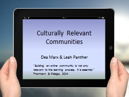 """""""Building an online community is not only relevant to the learning process, it is essential."""""""