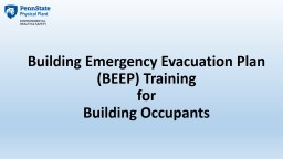 Building Emergency Evacuation Plan (BEEP) Training