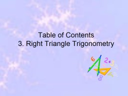 Table of Contents 3.  Right Triangle Trigonometry