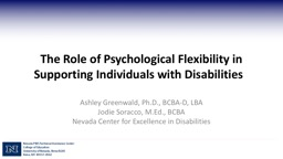 The Role of Psychological Flexibility in Supporting Individuals with Disabilities