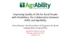 Improving Quality of Life for Rural People with Disabilities: