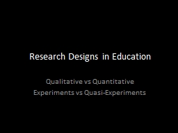 Research Designs in Education