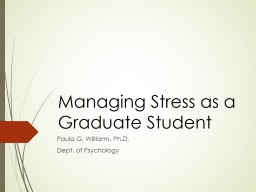 Managing Stress as a Graduate Student