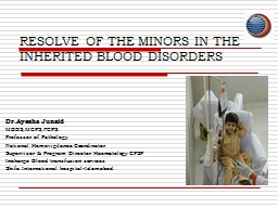 RESOLVE OF THE MINORS IN THE INHERITED BLOOD DISORDERS