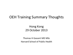 OEH Training Summary Thoughts