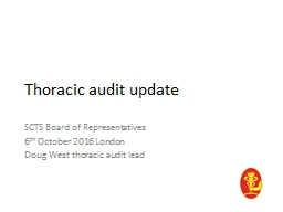 Thoracic audit update SCTS Board of Representatives