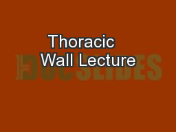Thoracic   Wall Lecture