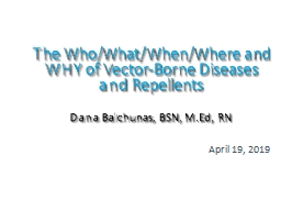 The Who/What/When/Where and WHY of Vector-Borne Diseases and Repellents