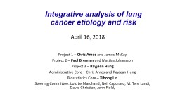 Integrative analysis of lung cancer etiology and risk