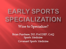 Early Sports Specialization