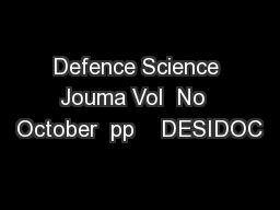 Defence Science Jouma Vol  No  October  pp    DESIDOC