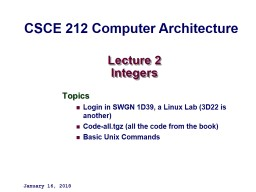 Lecture 2 Integers