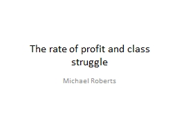 The rate of profit and class struggle