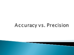 Accuracy vs. Precision Accuracy