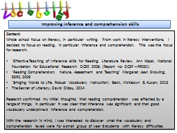 Improving inference and comprehension skills