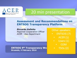 Implementation  of the Network Codes: ACER monitoring and SSE GRI