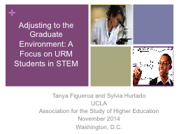 Adjusting to the Graduate Environment: A Focus on URM Students in STEM