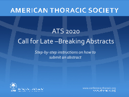 ATS 2020 Call for Late –Breaking Abstracts