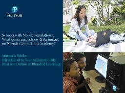 Schools with Mobile Populations: What does research say & its impact on Nevada Connections Acad