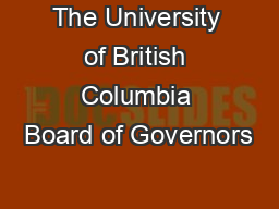 The University of British Columbia Board of Governors