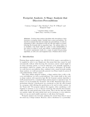 Footprint Analysis A Shape Analysis that Discovers Pre