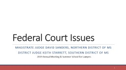Federal Court Issues Magistrate Judge David Sanders, Northern District of MS