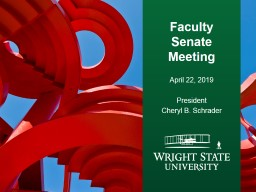 Faculty Senate Meeting April 22, 2019