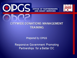 CITYWIDE DONATIONS MANAGEMENT TRAINING