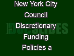 New York City Council Discretionary Funding Policies a