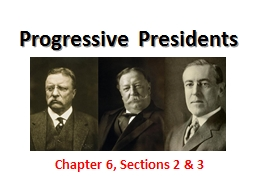 Progressive Presidents Chapter 6, Sections 2 & 3