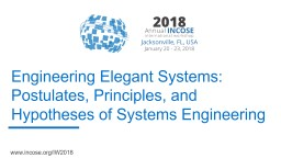 Engineering Elegant Systems: Postulates, Principles, and Hypotheses of Systems Engineering