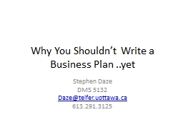 Why You Shouldn't Write a Business Plan ..yet