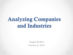 Analyzing Companies and Industries