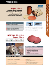 COATED ABRASIVES NORTON SG H Paper Discs Industry Usag