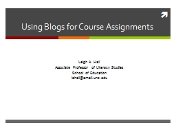 Using Blogs for Course Assignments