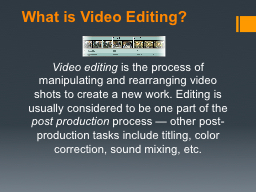 What is Video Editing ? Video editing