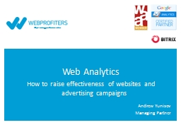 Web Analytics How to raise effectiveness of websites and advertising campaigns