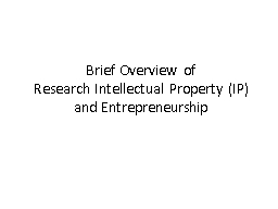 Brief Overview  of Research