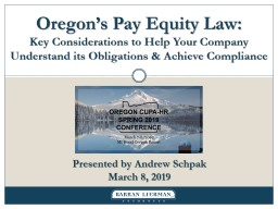 i4cp Oregon's Pay Equity Law: