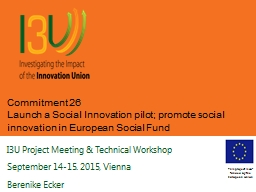 Commitment 26 Launch a Social Innovation pilot; promote social innovation in European Social Fund
