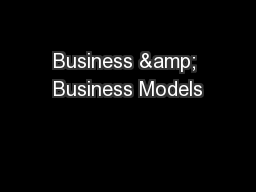 Business & Business Models