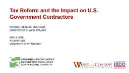 Tax Reform and the Impact on U.S. Government Contractors