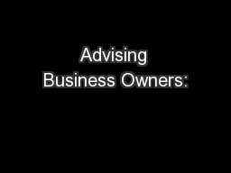 Advising Business Owners:
