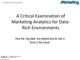 A Critical Examination of Marketing Analytics for Data-