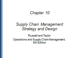 Chapter 10 Supply Chain Management